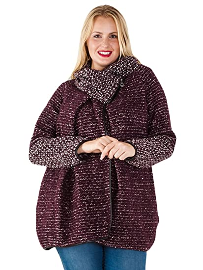 Kleding en accessoires Womens Italian chunky knit cocoon Jacket Lagenlook Coatigan Buttons Funnel Neck