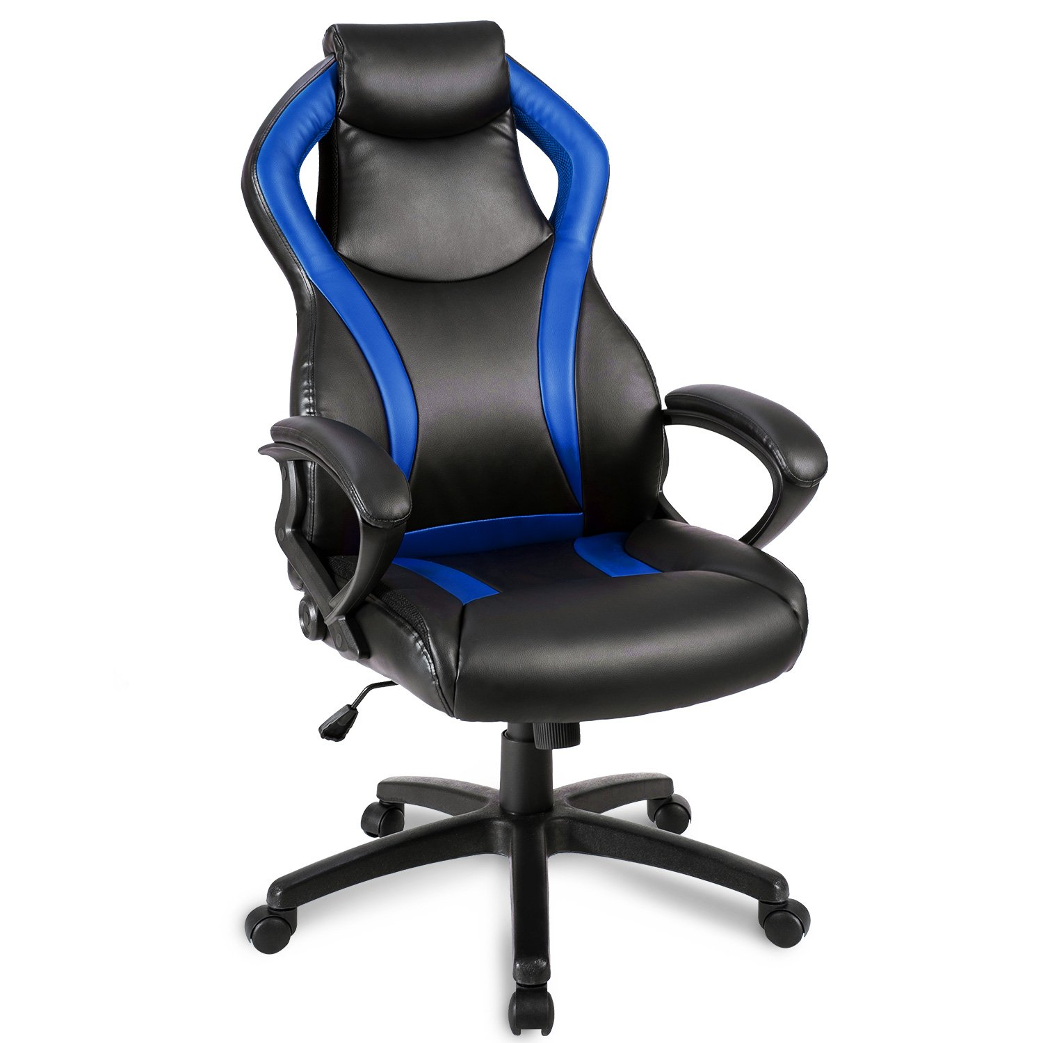 Merax Racing Style Leather Gaming Chair Office Desk Chair Pu Leather Swivel Computer Chair (Blue)