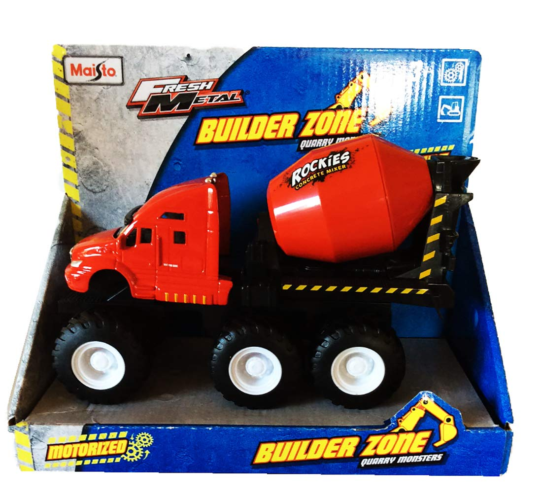 Maisto Fresh Metal Builder Zone Quarry Monsters Cement Mixer Red Red