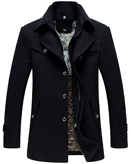 ba1b79945 Mens Wool Trench Coat Short Winter Warm Woolen Business Jacket with Free  Detachable Soft Touch Wool Scarf