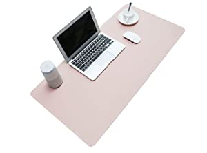 "BUBM PU Leather Mouse Pad Mat Waterproof, Perfect Desk Writing Mat for Office and Home,Ultra Thin 2mm - 31.5""x15.8"" (Pink)"