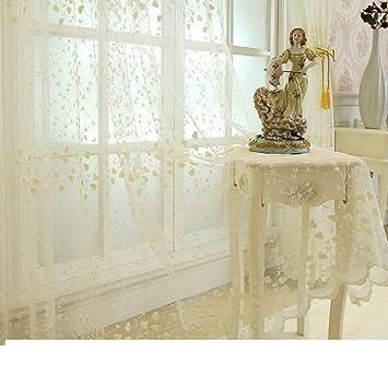 Voile Vorhang,Fenster Vorführungen,Spitze Gardinen,Bestickt Weiß  Gaze Vorhängen,