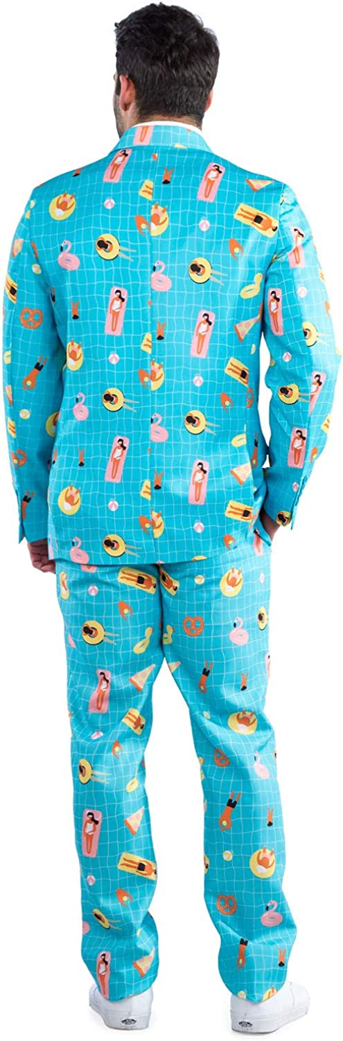 Jacket+Tie and Pants Sold Separately Tipsy Elves Mens Pool Party Suit Blue Pool Floaty