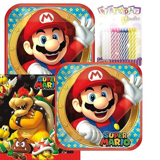 Super Mario Hermanos platos y servilletas sirve 16 con velas ...