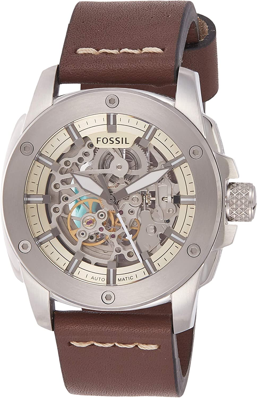 Fossil Men s Modern Machine Watch in Silvertone with Dark Brown Leather Strap