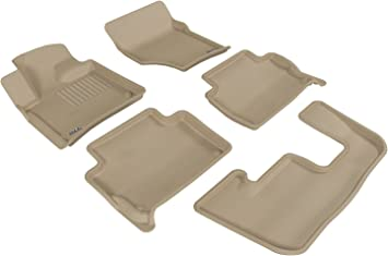 3D MAXpider Complete Set Custom Fit All-Weather Floor Mat for Select Toyota Camry Models Kagu Rubber Tan