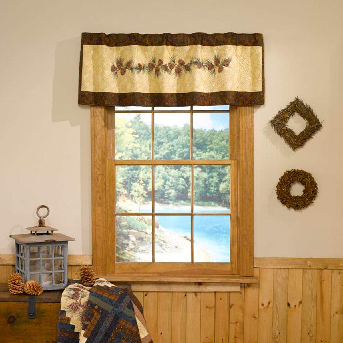 Valance - Cabin Raising Pine Cone by Donna Sharp - Lodge Decorative Window Treatment with Pine Cone Pattern by Donna Sharp