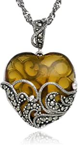 """Sterling Silver Marcasite and Gemstone -Colored Glass Heart Pendant Necklace, 18"""""""