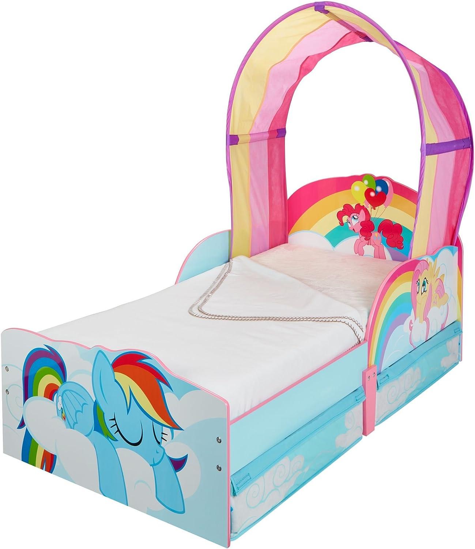 Hello Home 509MLN Lettino per Bambine Mio Mini Pony con Baldacchino e Contenitore Sottoletto / 142 x 77 x 128 cm Multicolored Legno