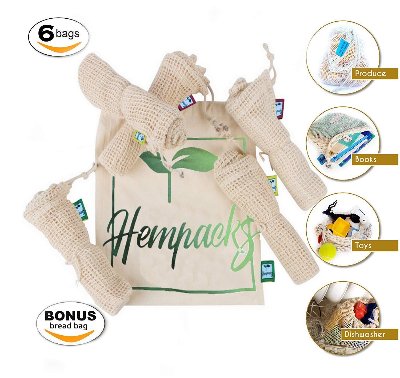 Hempacks Bolsas Reutilizables para Productos de cáñamo Natural ecológico de Onya algodón Muselina Fresca de Malla Set de 6: Amazon.es: Hogar