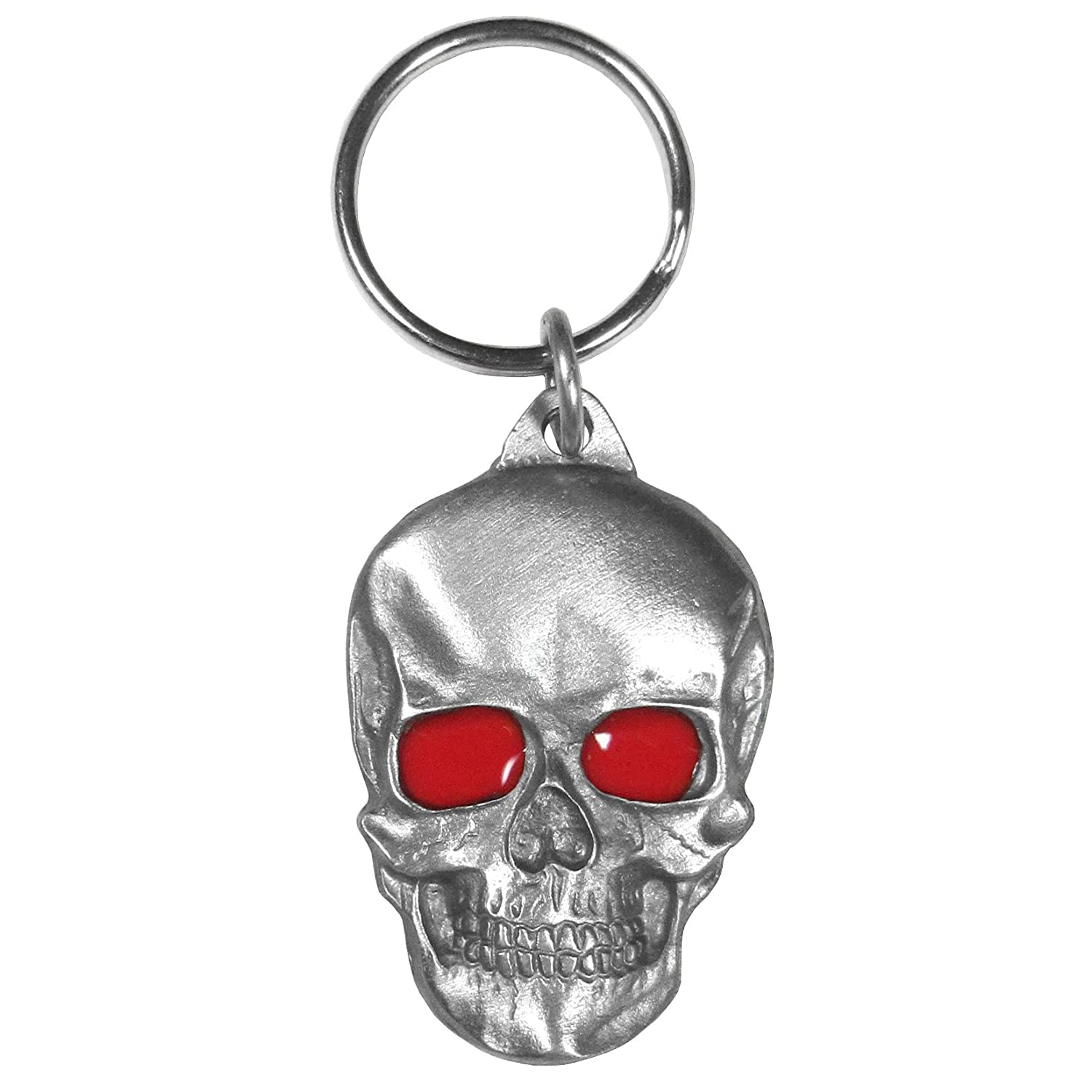 Siskiyou Automotive KRS8E Metal Key Chain Skull with Red Eyes Enameled Details