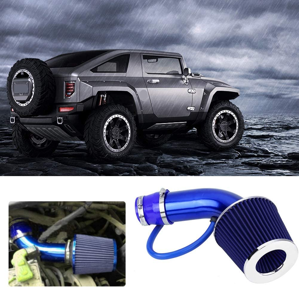 Blue 76mm 3 Inch Universal Car Aluminum Alloy fiber Cold Air Intake Filter Aluminum Induction Hose Pipe Kit Black Carbon Fiber//Red//Blue optional