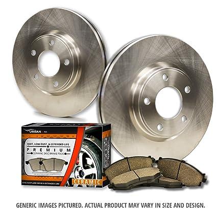 Front Kit 4 Ceramic Pads 4lug -Combo Brake Kit 2 Zinc Plated Cross Drill Disc Brake Rotors