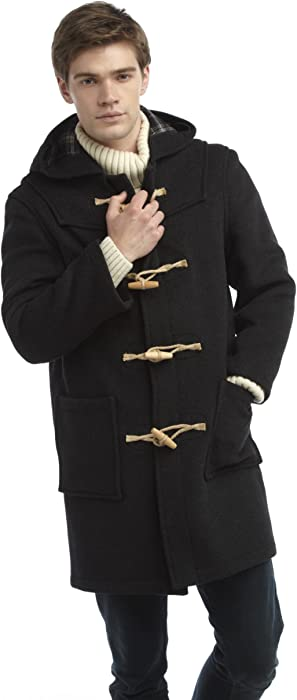 Mens Wooden Toggles Duffle Coat (44, Charcoal)