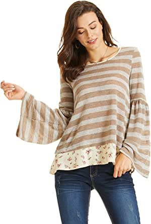 SONJA BETRO Women's Stripe Knit Contrast Print Long Sleeve Tunic Plus Size