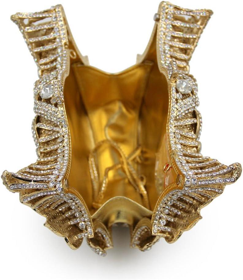 Zacheril Borsa da Sera Borsa da Sera di Strass Alta qualità Swan scolpire Borsa Frizione da Sera di Cristallo per La Festa di Nozze (Color : Dark Gold) Gold