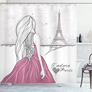 Ambesonne Paris Shower Curtain, Romantic Dramatical Woman Looks at Eiffel Tower Love Theme Sketch Style Illustration, Cloth Fabric Bathroom Decor Set with Hooks, 70