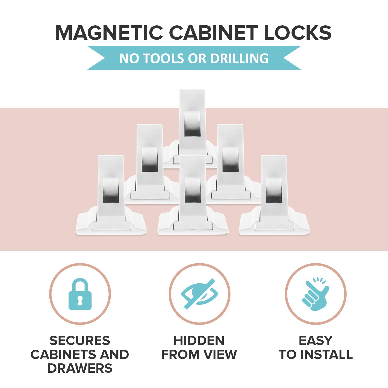 3 Key for Baby Proofing Cabinets Easy Install for Toddler and Childproof with Adhesive Latch Drawers and Locking Cupboard No Tools or Drill Magnetic Child Safety Cabinet Locks 12 Lock