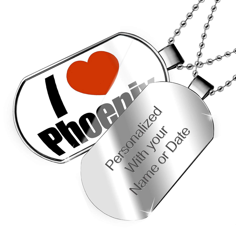 Arizona NEONBLOND Personalized Name Engraved I Love Phoenix Region United States Dogtag Necklace