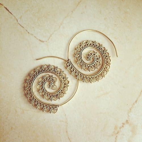 1cde36e0c Amazon.com: Brass Spiral Earrings, Boho Earrings, Tribal Earrings, Hoop  Earrings, Gold Earrings, Gipsy Earrings, Tribal Belly Dance Jewellery.:  Handmade