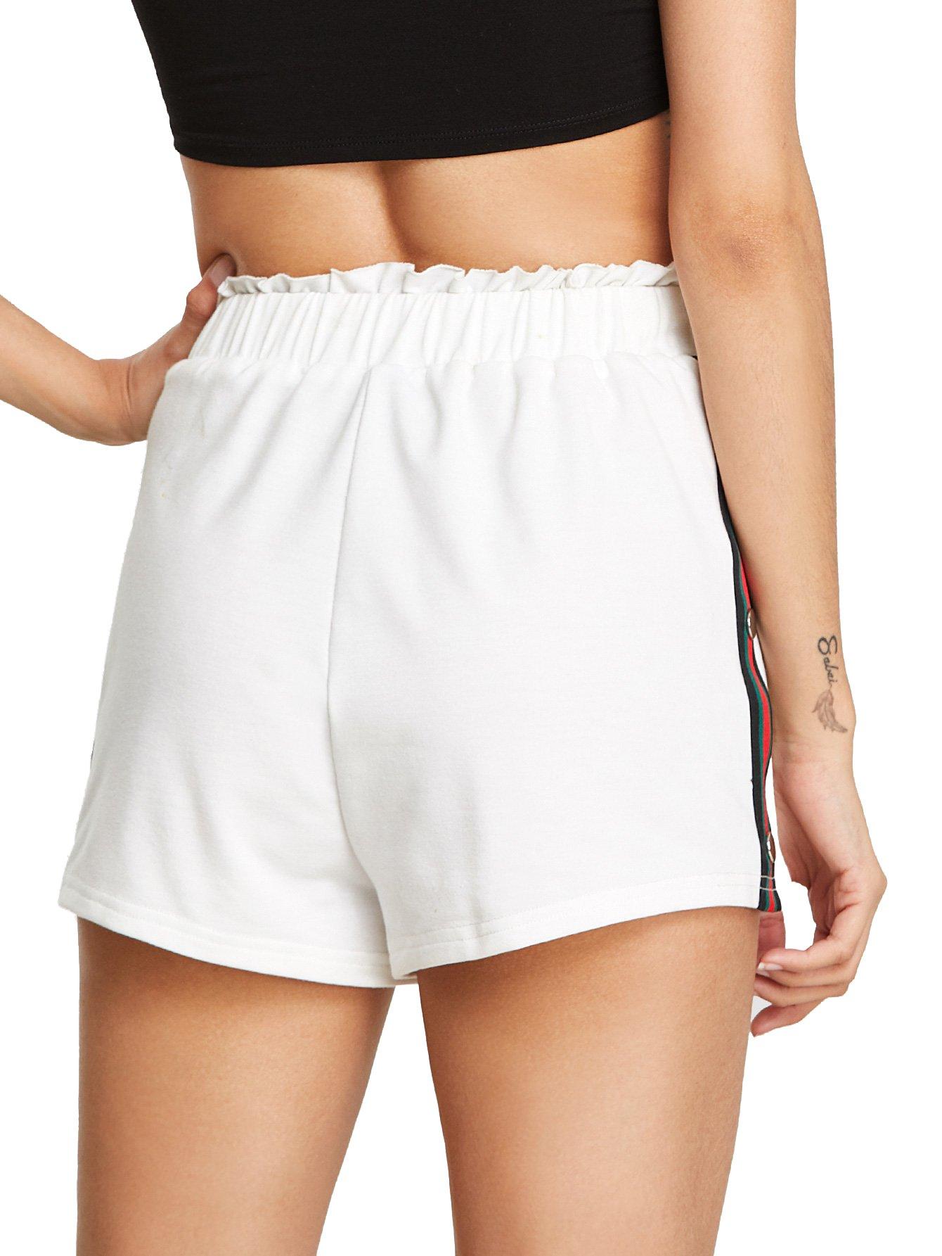 SweatyRocks Women Summer Casual Sports Workout Shorts Drawstring Elastic Waiste Hot Shorts White S by SweatyRocks (Image #4)