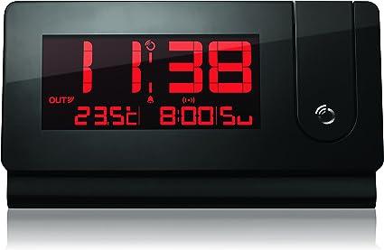 Oregon Scientific Réveil radio pilotée design Extra Plat avec projection et temperature RMR391P