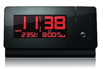 Oregon Scientific RMR391P - Reloj proyector despertador con termómetro interior y exterior, fecha, alarma con repetición snooze, negro