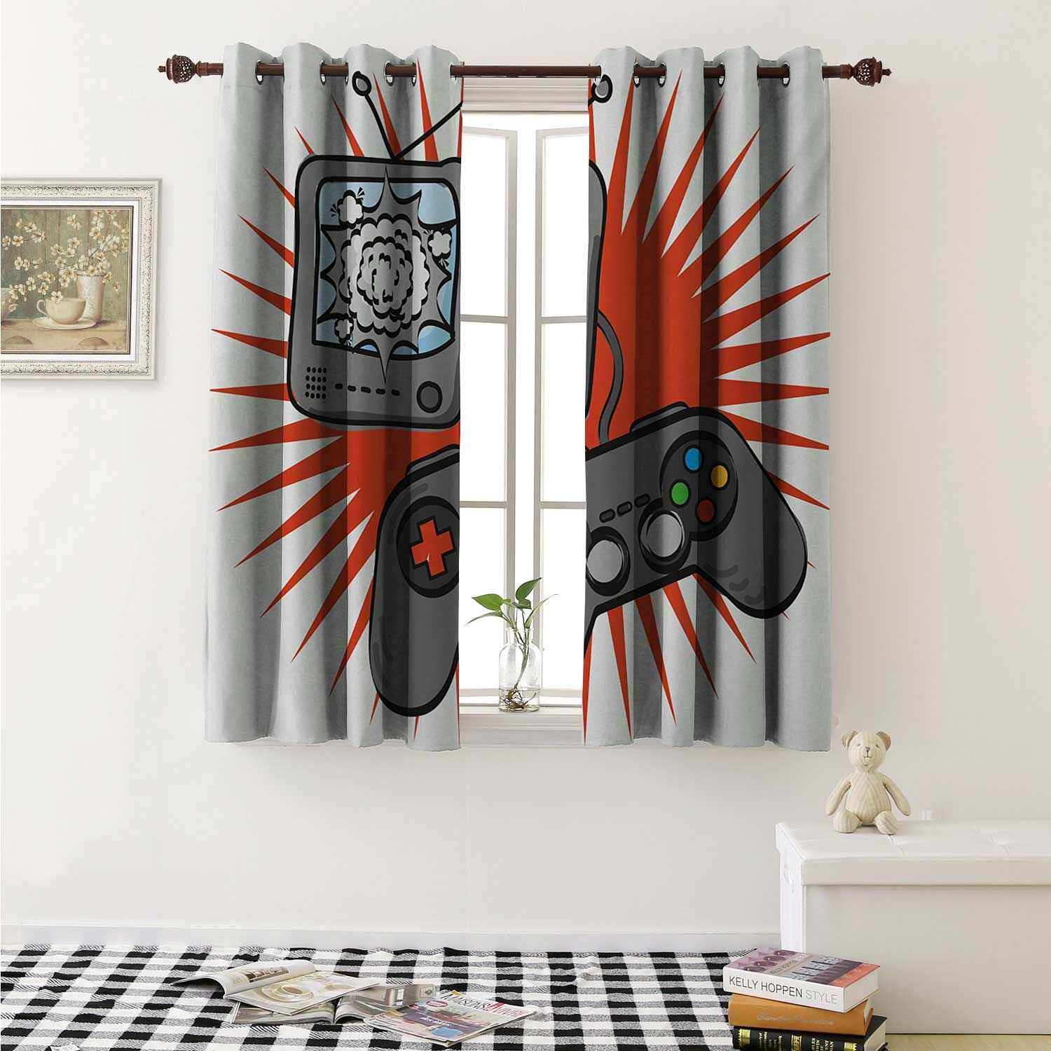 shenglv Boys Room Decorative Curtains for Living Room Video Games Themed Design in Retro Style Gamepad Console Entertainment Curtains Kids Room W72 x L72 Inch Orange Grey White by shenglv