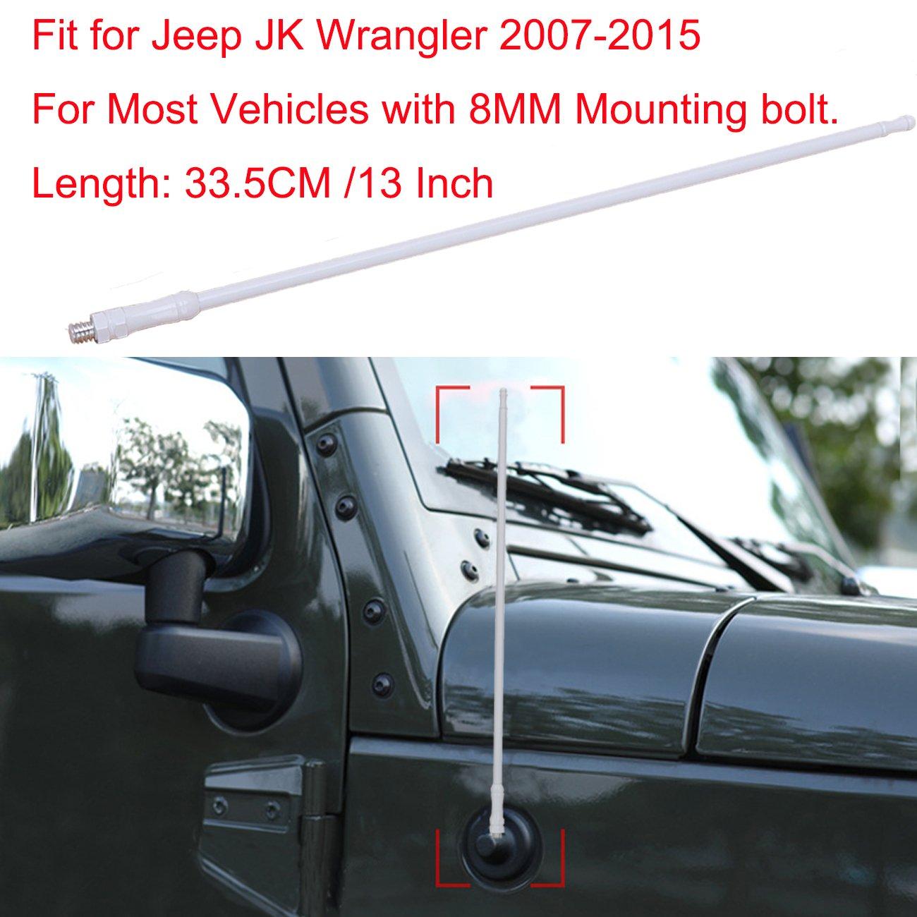 Autoantenne Dachantenne, BOXATDOOR 33 cm 8 mm AM FM Auto Antenne Schlank Metall weiß