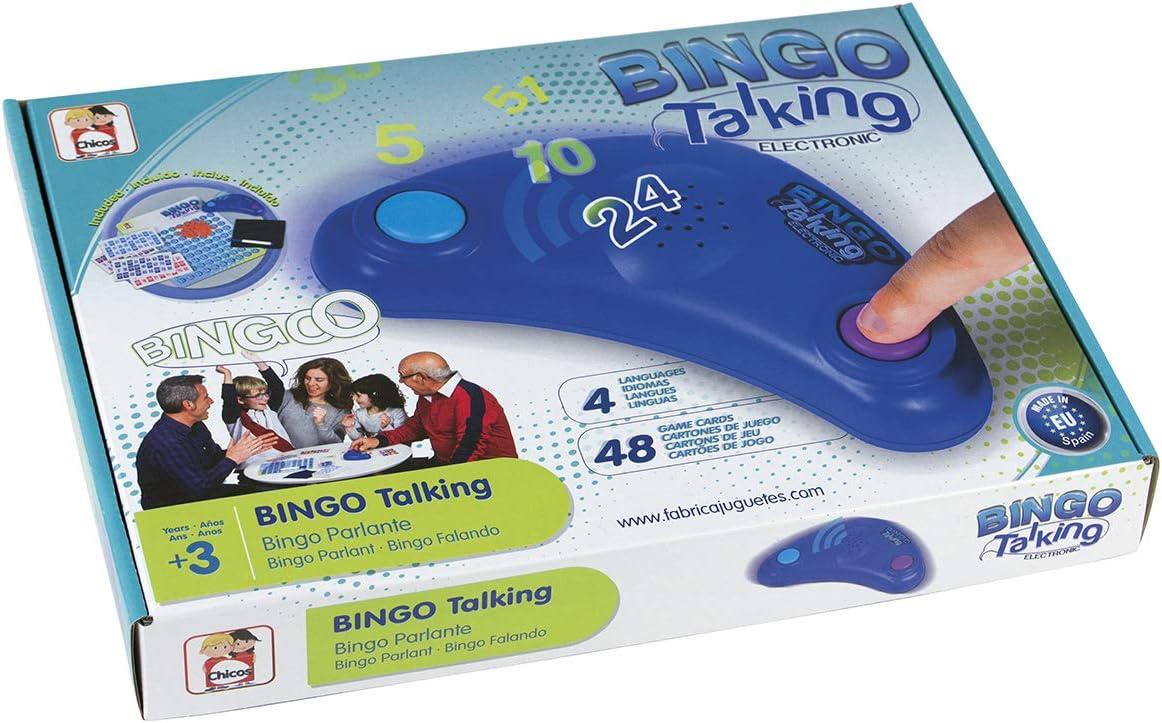 Chicos- Bingo Electrónico Lotería Parlante con 48 cartones, 13 x 7.5 x 4 cm, incluye fichas de juego, Multicolor (Fábrica de Juguetes 22409) , color/modelo surtido