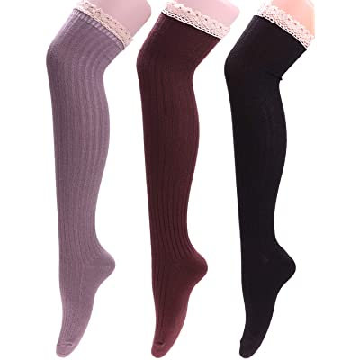 3 Pairs Women Warm Knit Cotton Wool Over Knee Thigh High Socks, Size 5-9 WS116 (mixed 01) at Amazon Women's Clothing store
