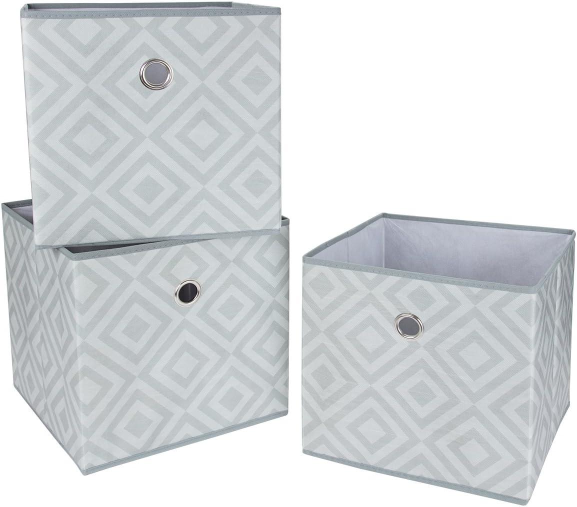 SbS cajas plegables de almacenamiento de tela plegable, cubos, cajas, zapatillas de deporte. Diamante Gris, (Paquete de 3). Cada bandeja de almacenamiento mide 28 cms en todos los lados: Amazon.es: Hogar