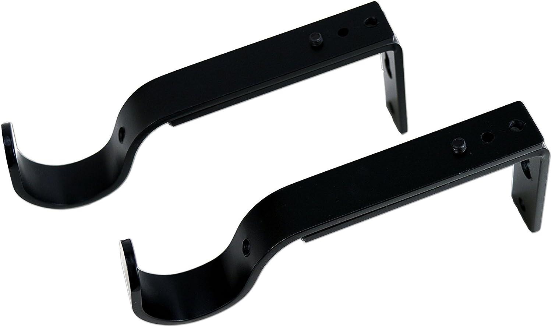 Versailles Home Fashions USB02-90 Single Wall Brackets for 22/25/28mm Rod, Black, Pair