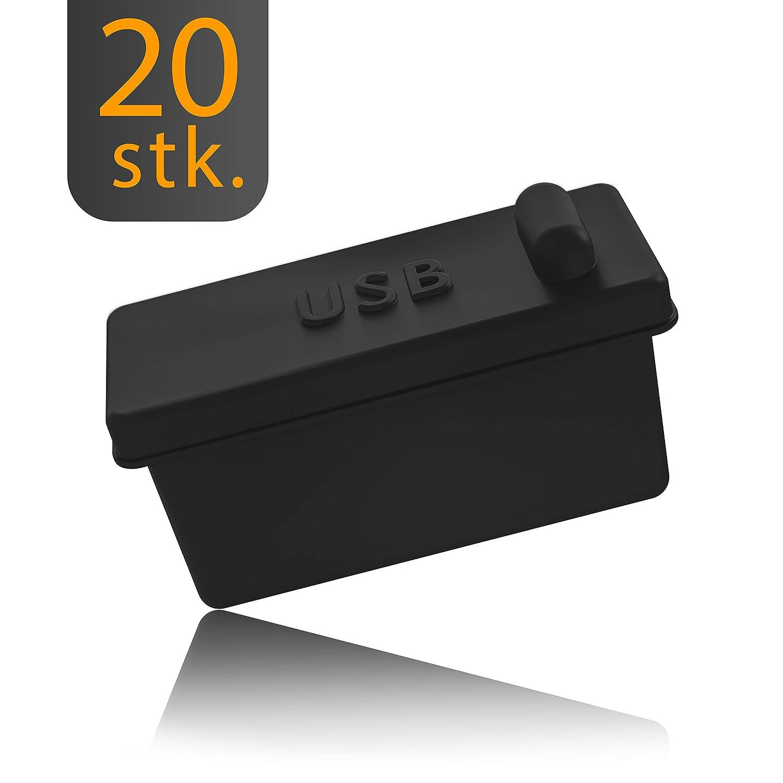 20x Tapón protector contra el polvo tipo USB-A para PCs de sobremesa, portátiles, MacBook de innoGadgets | Protección para todos los puertos USB-A | Tapón anti-polvo de sil