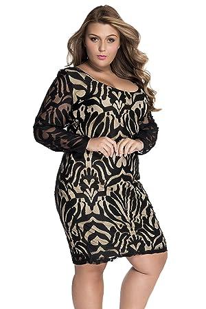 Mujer Plus Size Negro y Dorado encaje ilusión Vestido Midi Vestido Club Wear ropa tamaño 2