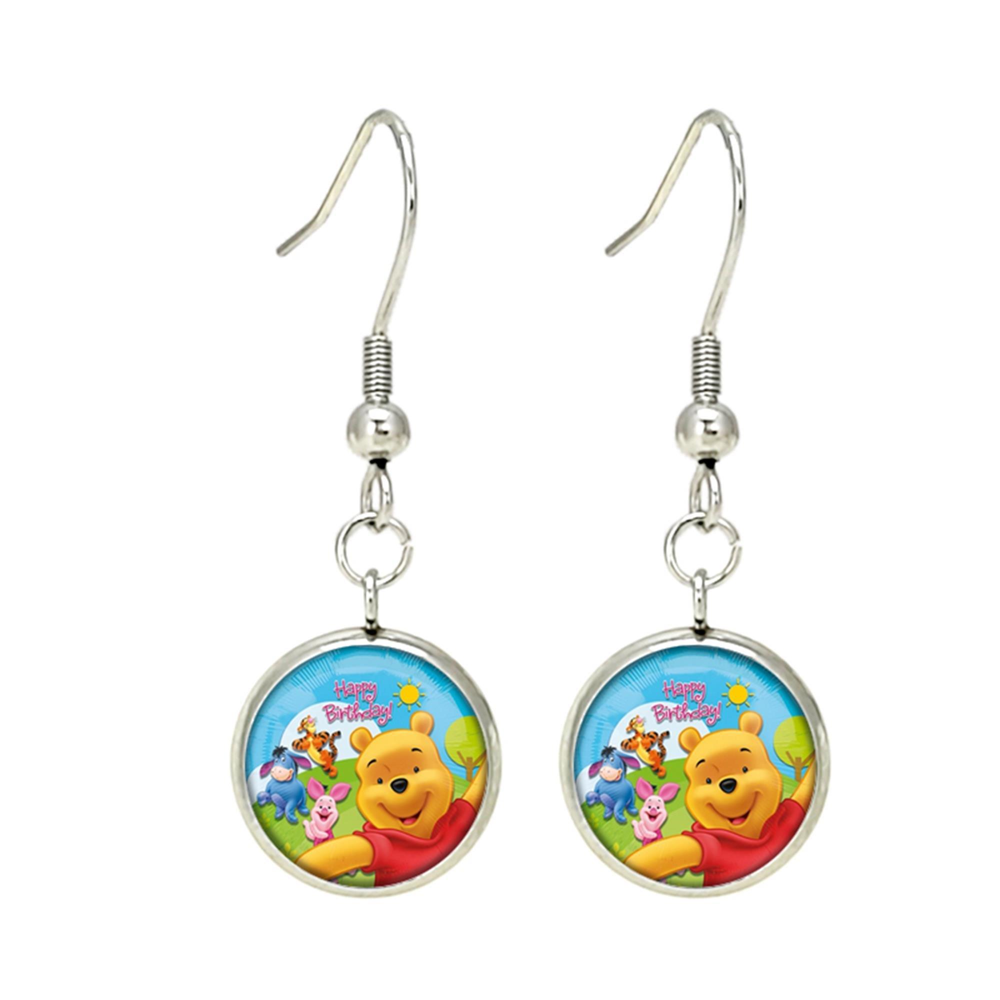 Winnie the Pooh Disney Premium Quality Silvertone Dangle Earrings