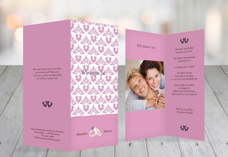 Kartenparadies Hochzeitskarte Einladung Ornament mit Herz, hochwertige Einladung zur Heirat Heirat Heirat inklusive Umschläge   10 Karten - (Format  105x215 mm) Farbe  Rosadunkellila B01N24JM1Y | Schöne Farbe  | Verschiedene Stile und Stile  | 2019  fdf6b4