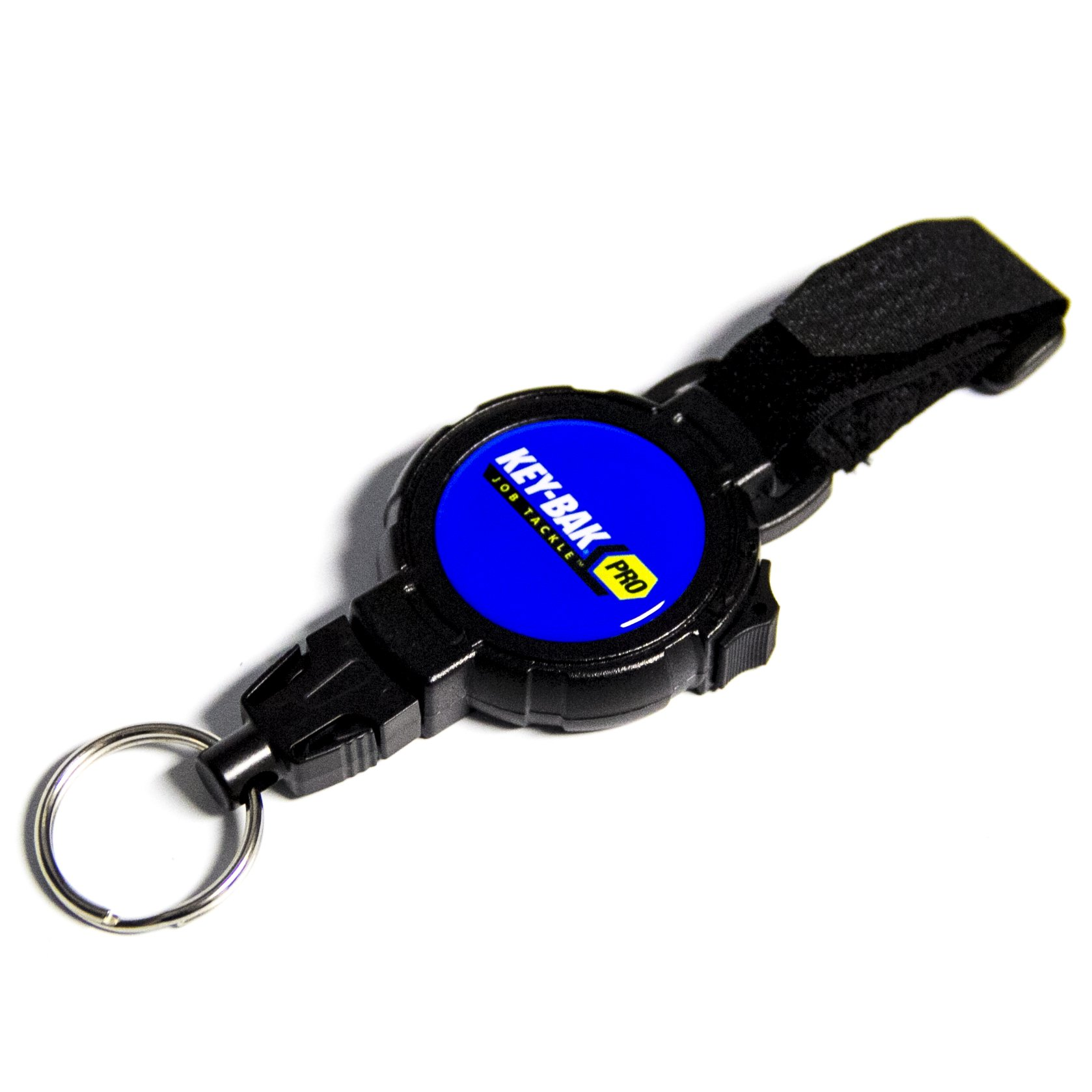 KEY-BAK Pro JobTackle Any Gear Split Ring Tether with a 36'' Kevlar Tether, 14 oz. Retraction, Tether Lock and Hook/Loop Strap Attachment