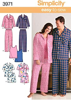 product image for Simplicity Easy To Sew Men and Women's Matching Pajamas Sewing Patterns, Sizes S-L