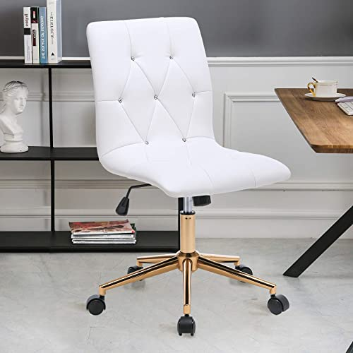 Duhome Modern Office Chair White Desk Chair Task Chair Computer Chair Rolling Chair