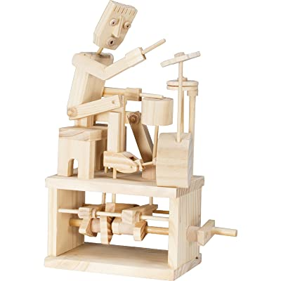 Timberkits - Drummer - Mechanical Wooden Construction Kit: Toys & Games