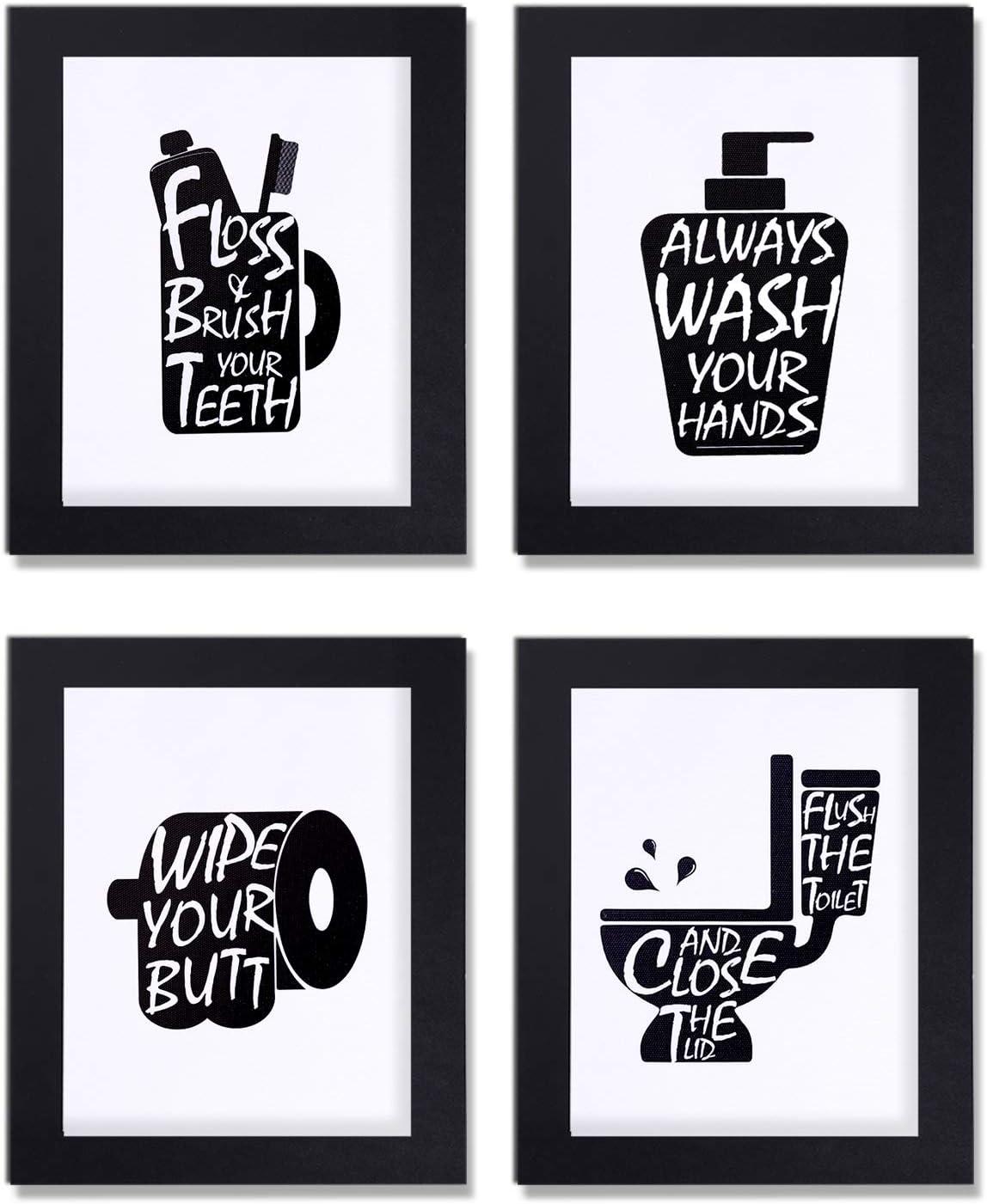 Joysnana Bathroom Decor Wall Art Prints with Frames;Funny Bathroom Sign 8×10 inch Set of 4 (Black and White) (B)