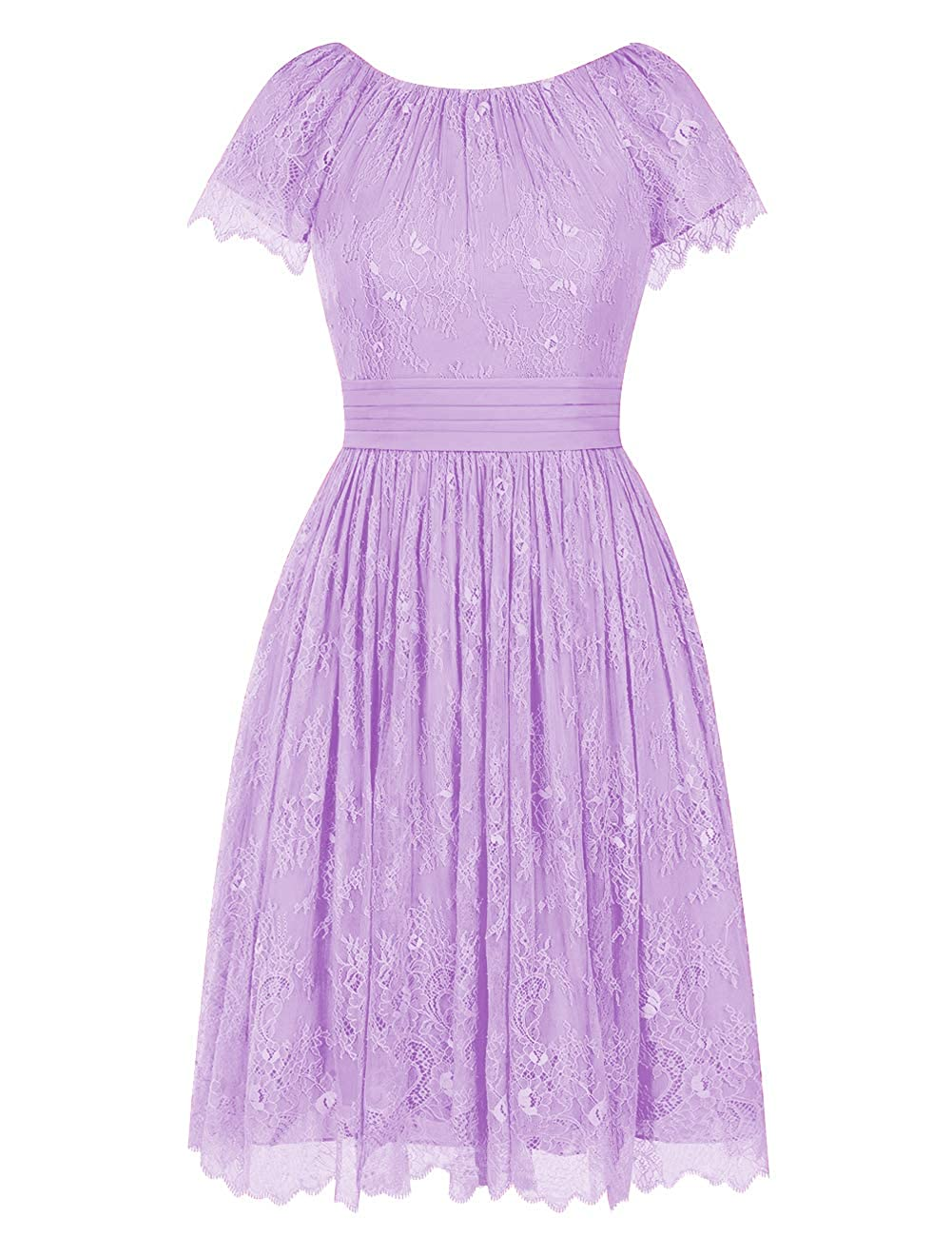 purplec Short Bridesmaid Dresses Flora Lace Cocktail Prom Gowns Homecoming Formal Party Dress