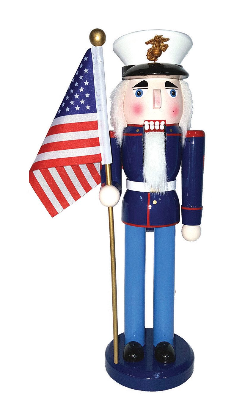 Santa's Workshop 70562 Marine Nutcracker with Flag, 14'', Multicolored