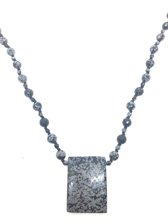 Collar largo 78 cm de obsidiana nevada y plata de ley