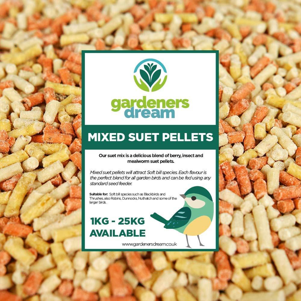 GardenersDream Mixed Suet Pellets - High Energy Insect, Berry & Mealworm Wild Bird Food (1KG)