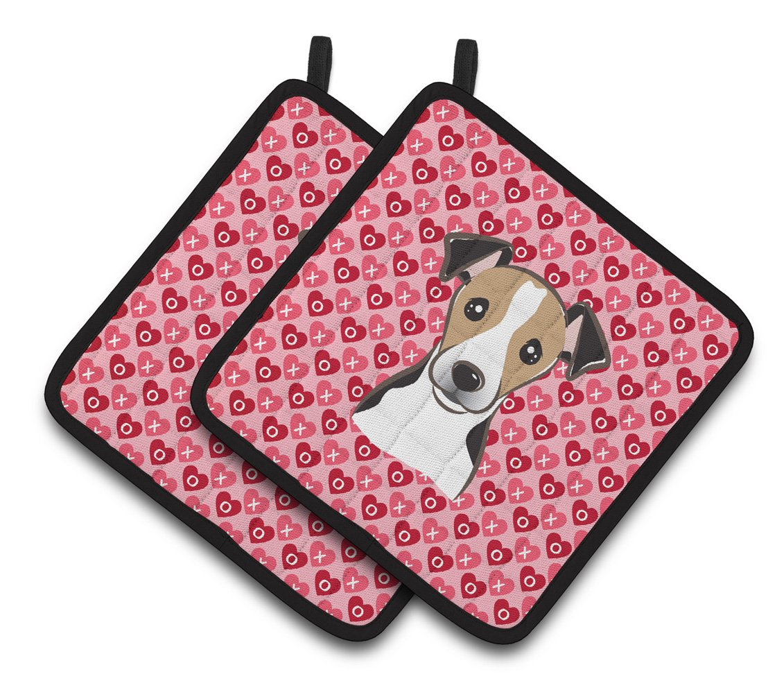 7.5H X 7.5W Carolines Treasures BB5331PTHD Jack Russell Terrier Hearts Pair of Pot Holders Multicolor