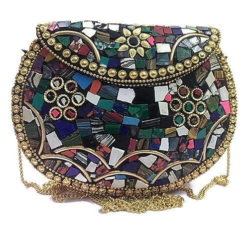 Bolso de mosaico turquesa, bolso de honda, bolso de mano, caja étnica de