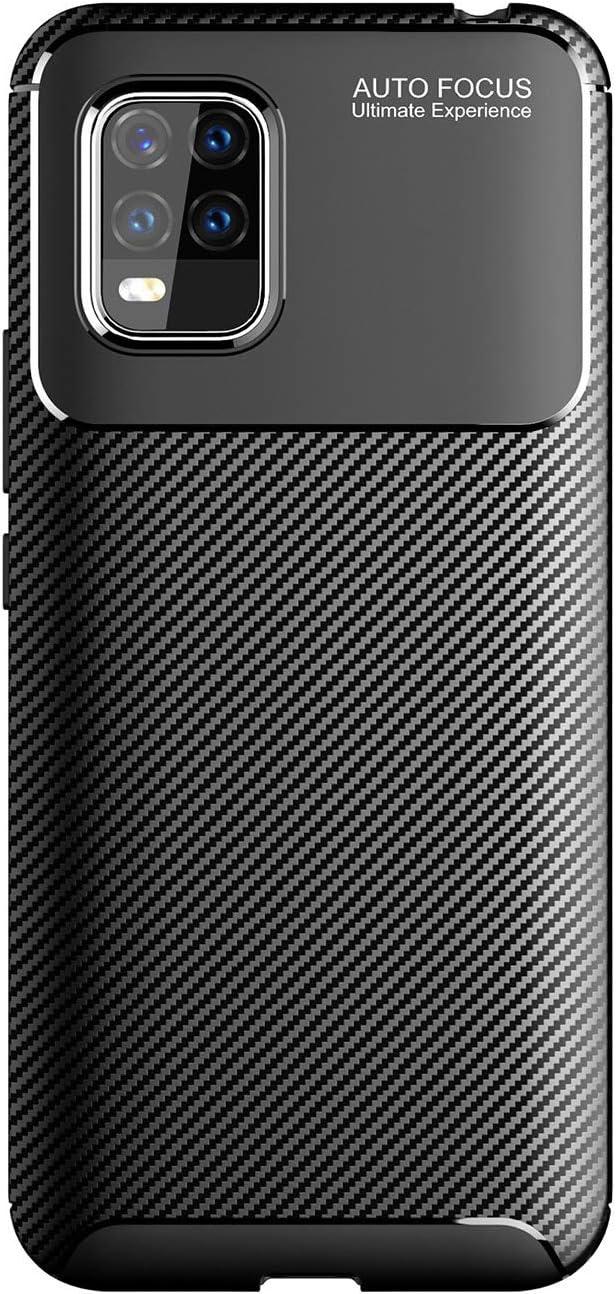 Weideworld Funda Xiaomi Mi 10 Lite 5G + Protectore de Pantalla, [Textura de Fibra de Carbono] [Antichoque/Antirrayas] Carcasa de Armadura Resistente Funda de Silicona Bumper, Negro