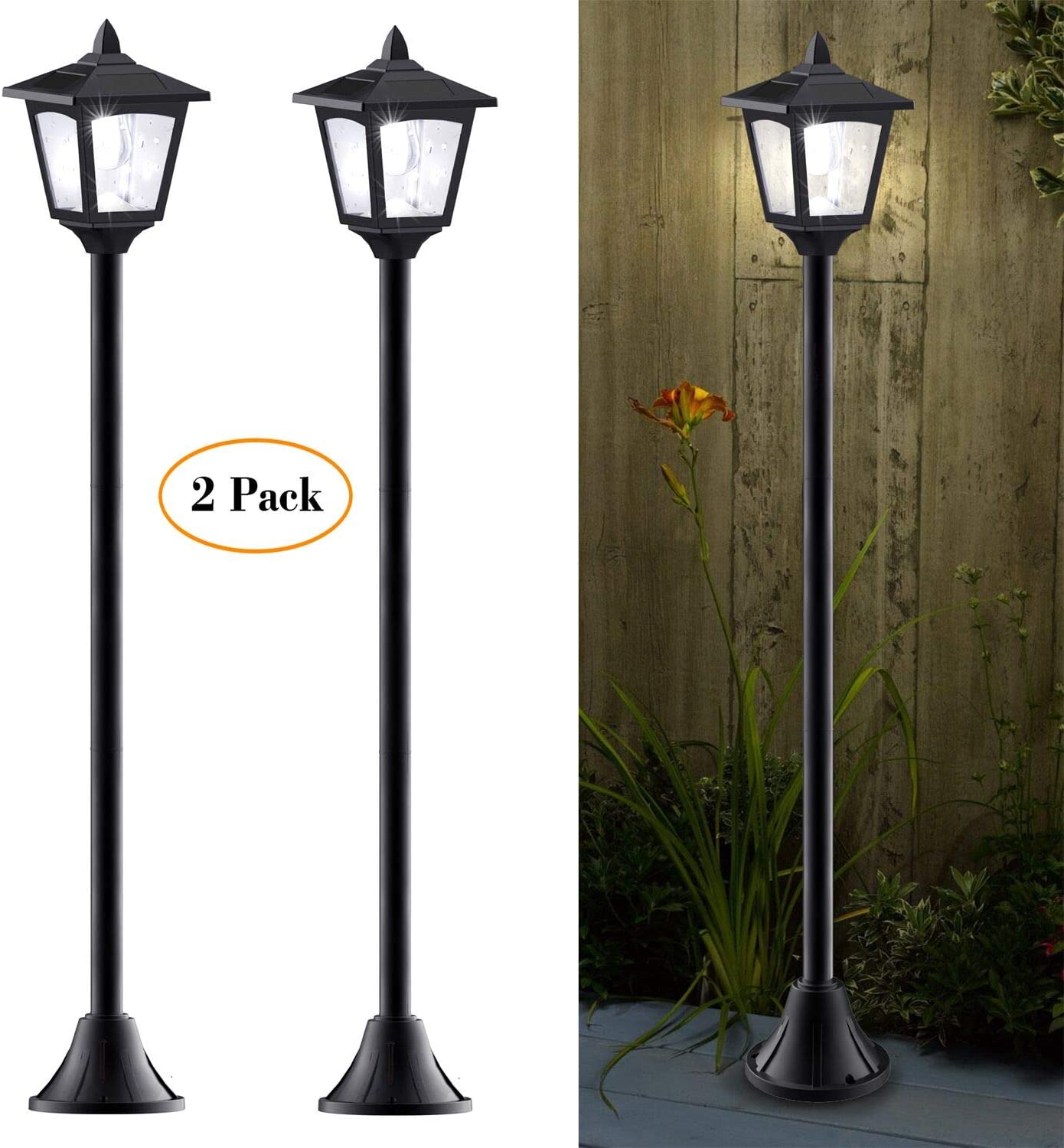 40 Inches Mini Solar Lamp Post Lights Outdoor, Solar Powered Vintage Street Lights for Lawn, Pathway, Driveway, Front/Back Door, Pack of 2